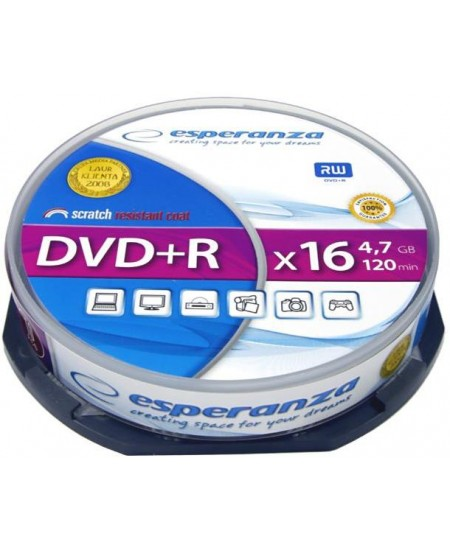 Laikmena ESPERANZA DVD+R, 4.7GB, 16X, 10 vnt. iešmas