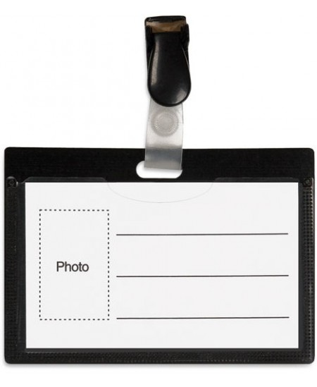 Vardinė kortelė su plastikiniu spaustuku, 54x90mm, juodos sp.