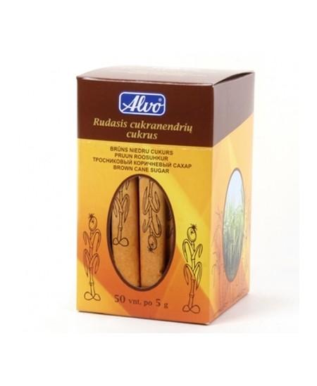 Rudasis cukranendrių cukrus ALVO, pakeliuose po 5 gr., 50 vnt.