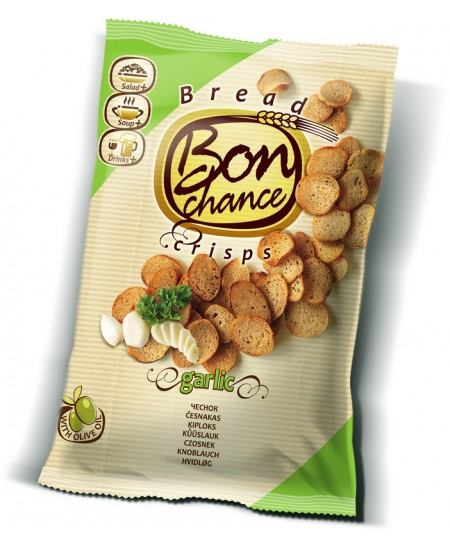 Duonos traškučiai BON CHANCE su česnakais, 120 g