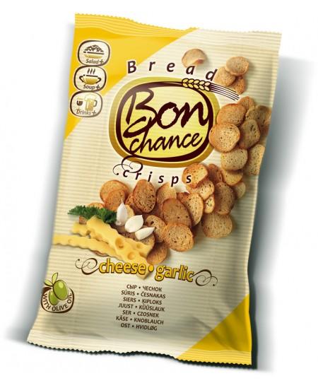 Duonos traškučiai BON CHANCE su sūriu ir česnakais, 120 g