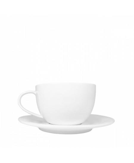 Baltas porcelianinis puodelio su lėkštute rinkinys