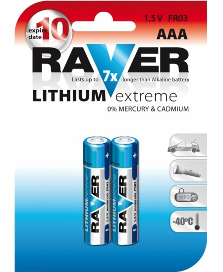 Elementai RAVER LITHIUM EXTREME FR03 (AAA), ličio, 2 vnt.
