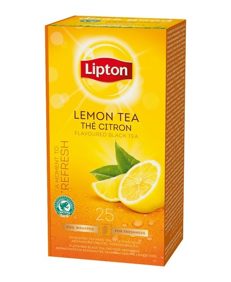 Arbata LIPTON LEMON, juodoji, citrinų skonio, 25 vnt.