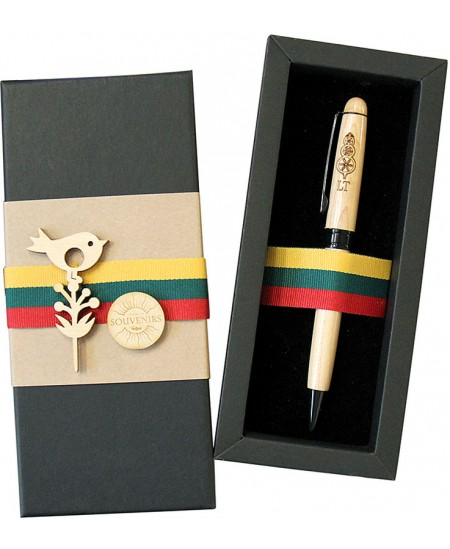 Medinis rašiklis LIETUVA su verpste, dovanų dėžutėje