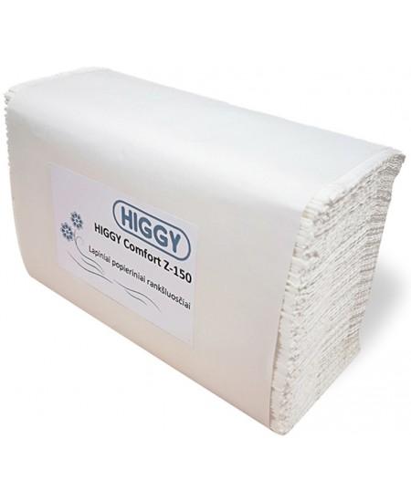 Lapiniai popieriniai rankšluosčiai HIGGY Comfort, Z lenkimas, 150 lap., 1 pakelis