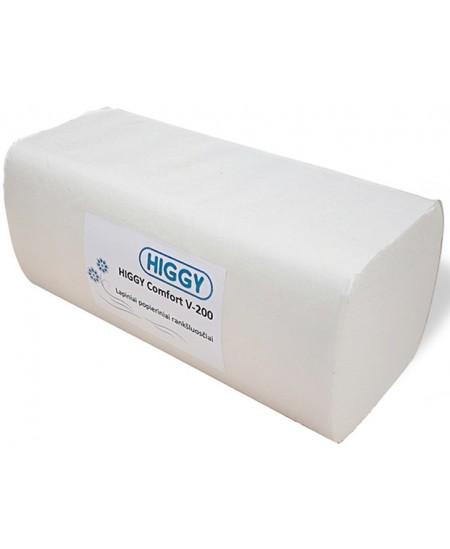 Lapiniai popieriniai rankšluosčiai HIGGY Comfort, V lenkimas, 200 lap., 1 pakelis