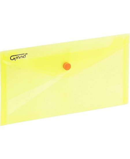 Dėklas - vokas su spaustuku GRAND, DL, 225x124 mm, geltonas
