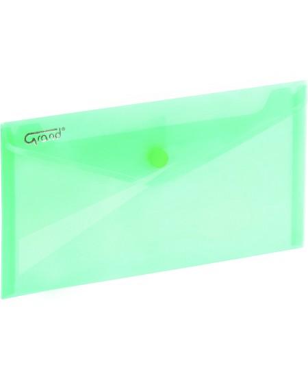 Dėklas - vokas su spaustuku GRAND, DL, 225x124 mm, žalias