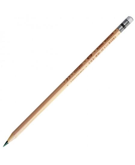 Natūralios medienos pieštukas CRICCO su trintuku, padrožtas, HB