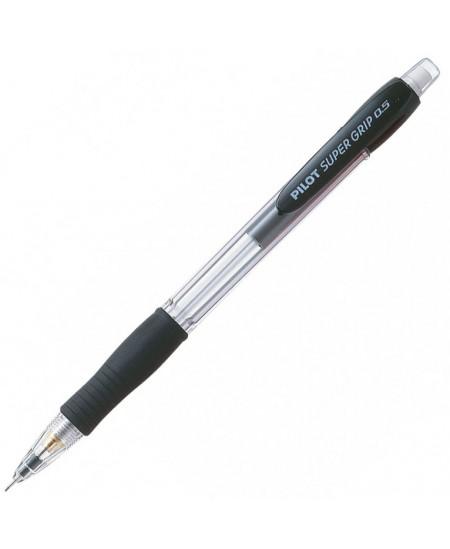 Automatinis pieštukas PILOT Super grip, juodas korpusas, 0,5 mm