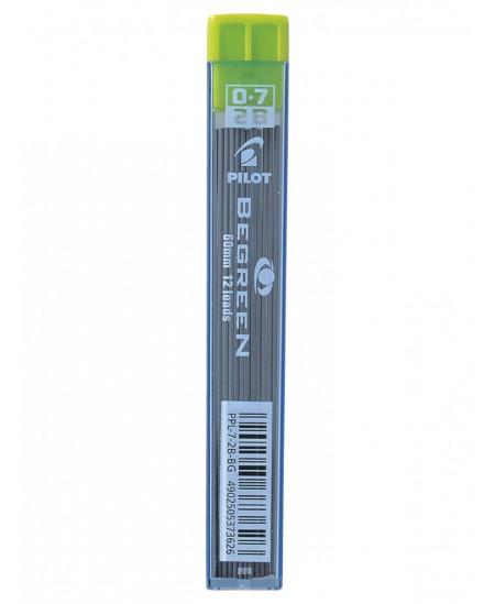 Ekologiški grafitai automatiniams pieštukams PILOT BeGreen, 0,7 mm (2B), 12 vnt.