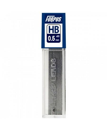 Grafitai automatiniams pieštukams FORPUS 0,5 mm (HB), 12 vnt.