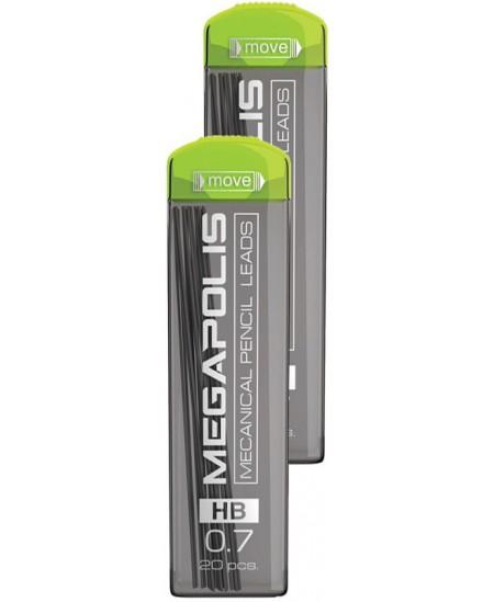 Grafitai automatiniams pieštukams ERICH KRAUSE MEGAPOLIS, 0,7 mm (HB), 20 vnt.