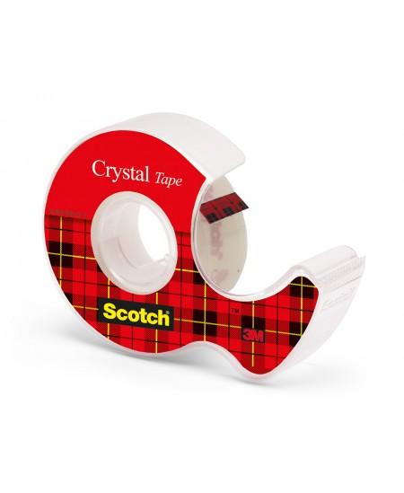 Lipni juostelė Scotch Crystal su laikikliu, 19 mm x 7,5 m