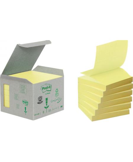Ekologiškų lipnių lapelių kubas Post-it® Recycled Z-Notes, 76x76mm, 600 lapelių, geltoni