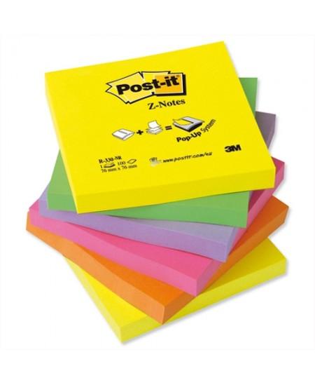 Lipnių lapelių kubas Post-it® Z, 76x76 mm, 600 lapelių, įvairių spalvų