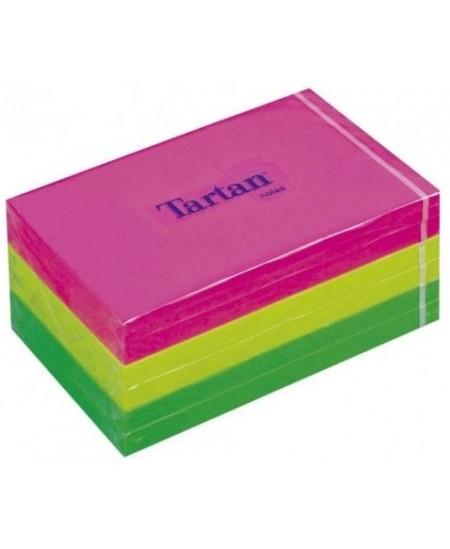 Lipnūs lapeliai TARTAN 51x38 mm, 1200 lapelių, neoniniai spalvoti