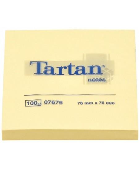 Lipnūs lapeliai TARTAN, 76x76 mm, 100 lapelių, geltoni