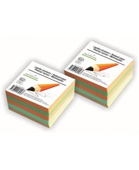 Lapeliai užrašams, 90x90 mm, spalvoti, suklijuoti, 500 lapelių