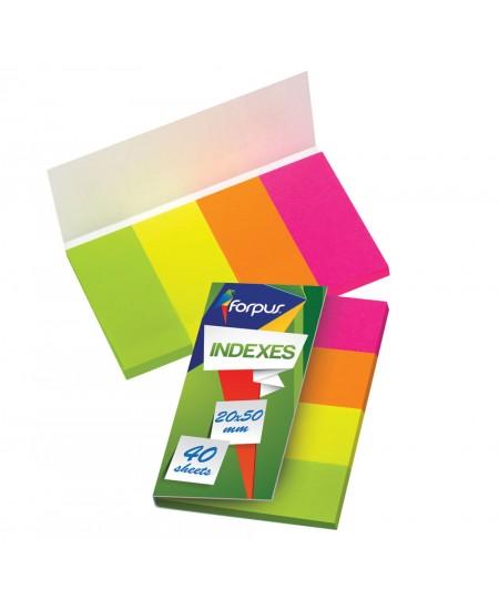 Lipnūs indeksai FORPUS, 20x50 mm, popieriniai, 4 x 40 vnt.