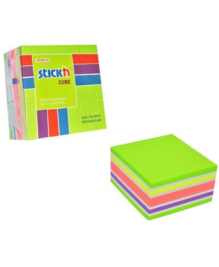 Lipnių lapelių kubas STICK´N Neon Green Mix, 76x76 mm, 400 lapelių