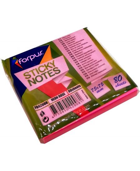 Lipnūs lapeliai FORPUS NEON, 75x75 mm, 80 lapelių, neoniniai rožiniai