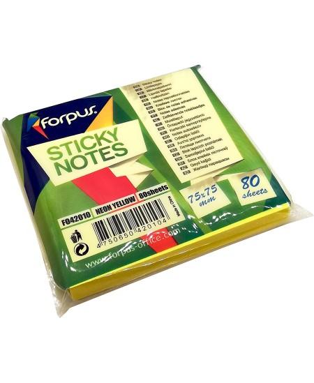 Lipnūs lapeliai FORPUS NEON, 75x75 mm, 80 lapelių, neoniniai geltoni