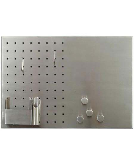 Nerūdijančio plieno magnetinė lenta MEMOBOARDS, 50 x 35 cm, pilka