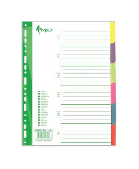 Skiriamieji lapai, kartoniniai, 6 spalvos
