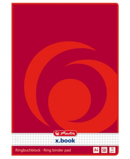 Bloknotas HERLITZ, A4, 50 lapų, langeliais, su skylutėmis