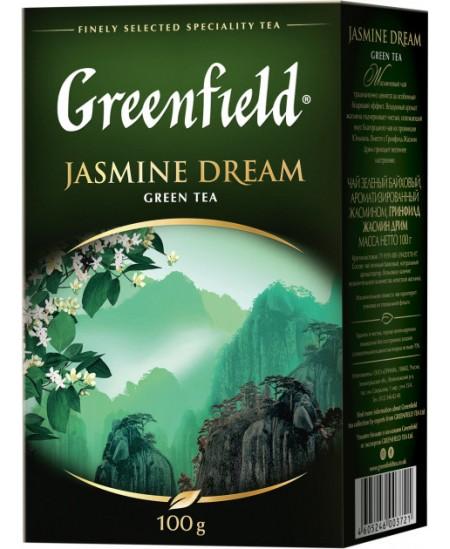 Arbata GREENFIELD JASMINE DREAM, žalioji, biri, 100 gr.