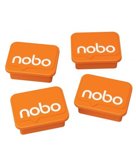 Magnetai NOBO 4 vnt., oranžiniai, 18x22 mm