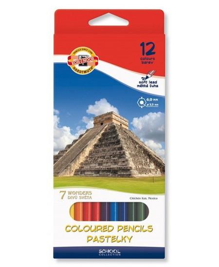 Spalvoti pieštukai KOH-I-NOOR 7 pasaulio stebuklų, 12 spalvų