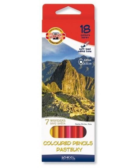 Spalvoti pieštukai KOH-I-NOOR 7 pasaulio stebuklų, 18 spalvų