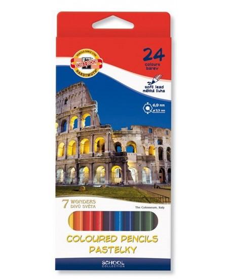 Spalvoti pieštukai KOH-I-NOOR 7 pasaulio stebuklų, 24 spalvų
