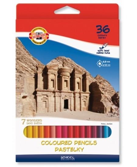 Spalvoti pieštukai KOH-I-NOOR 7 pasaulio stebuklų, 36 spalvų