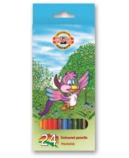 Spalvoti pieštukai KOH-I-NOOR Paukščiai, 24 spalvų