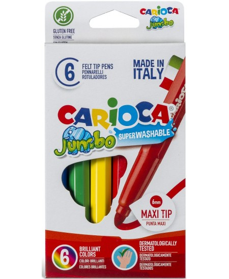 Flomasteriai CARIOCA Jumbo, stori, 6 spalvų
