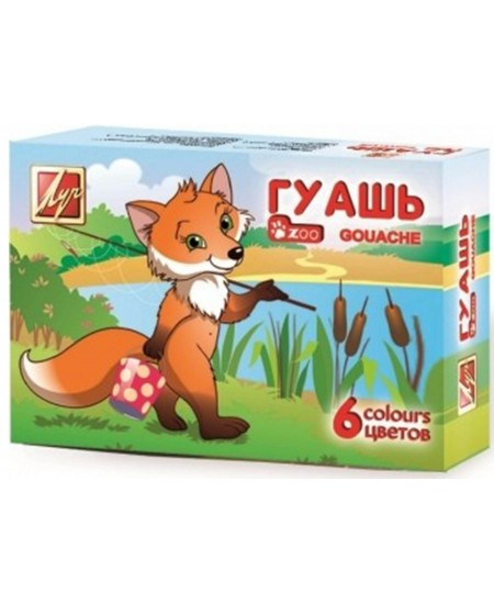 Guašas LUČ Zoo, 6 spalvų po 15 ml