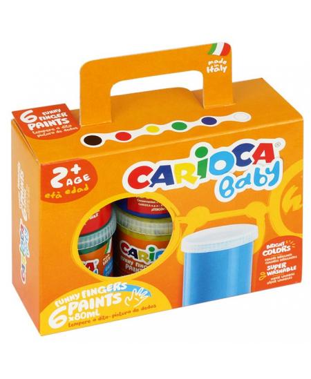 Dažai piešimui pirštais CARIOCA Baby, 6 spalvų