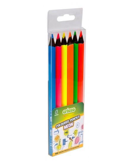 Spalvotų pieštukų rinkinys CRICCO, 6 ryškios neoninės spalvos