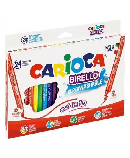 Flomasteriai CARIOCA, dvipusiai , 24 spalvų