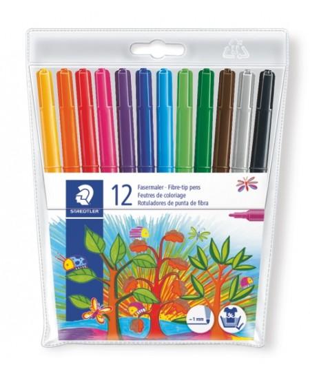 Flomasteriai STAEDTLER NORIS CLUB, 12 spalvų rinkinys