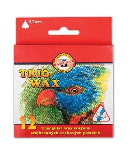Vaškinės kreidelės KOH-I-NOOR, tribriaunės, 12 spalvų