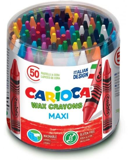 Vaškinės kreidelės CARIOCA Jumbo, 50 spalvų