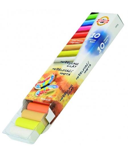 Plastilinas KOH-I-NOOR, ryškių spalvų, 10 spalvų