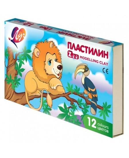 Plastilinas LUČ Zoo, 12 spalvų