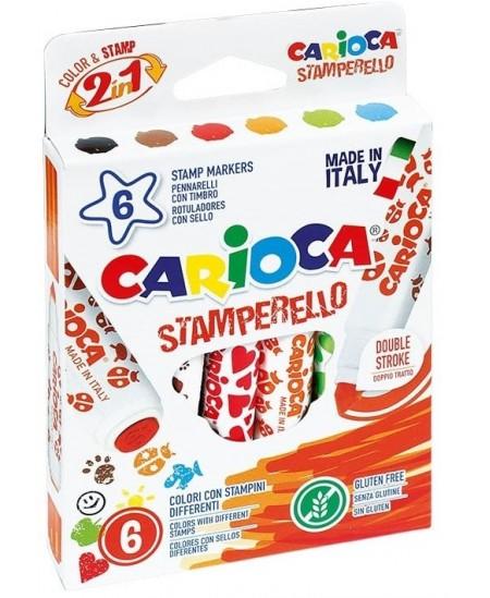 Flomasteriai su antspaudukais CARIOCA, 6 spalvų
