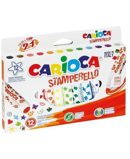Flomasteriai su antspaudukais CARIOCA, 12 spalvų